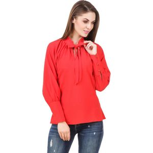 Stylos Casual Full Sleeve Solid Women Red Top