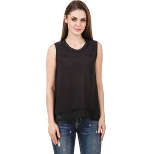 Stylos Casual Sleeveless Solid Women Black Top