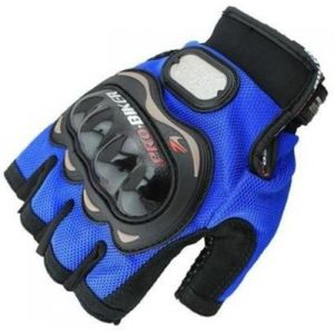 PRO-BIKER HALF CUT DRIVING GLOVES (XL, BLUE, BLACK)