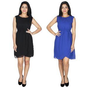 Abeez Black And Blue Magic Gisele Dress (Combo Set)