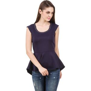Stylos Casual Sleeveless Solid Women Dark Blue Top