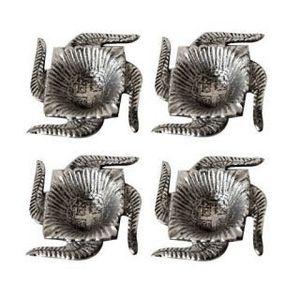 Fundoo Handicrafts White Metal Diya - Set of 4 Swastik Deepak