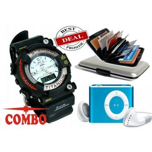 COMBO OF S-SHOCK SPORT WATCH WITH CREDIT CARD HOLDER AND MINI MP3 PLAYER