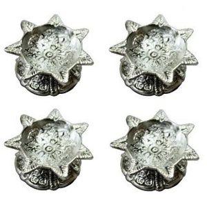 Sabtbati White Metal Diya - Set of 4 Deepak