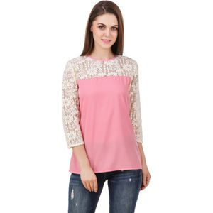 Stylos Casual 3/4th Sleeve Solid Women Pink Top