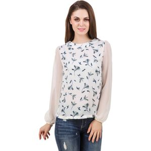 Stylos Casual Full Sleeve Floral Print Women White Top