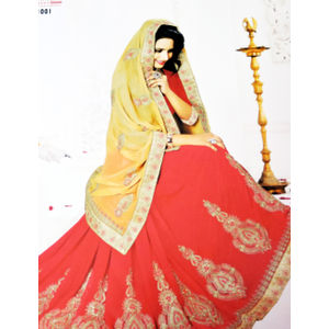 New Arrival Designer Saree Red, Yellow Color