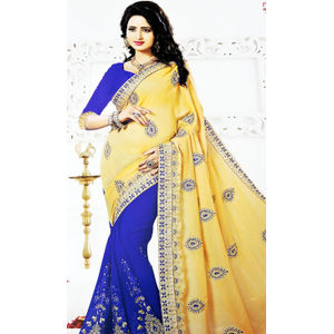New Arrival Designer Saree Blue, Yellow Color