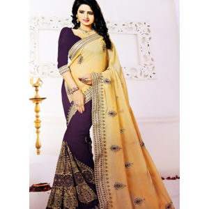 New Arrival Designer Saree Brown