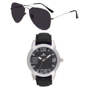 Rologi Black Analog Watch with Sunglasses