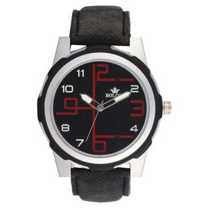 Rologi Black Leather Analog Watch for Men