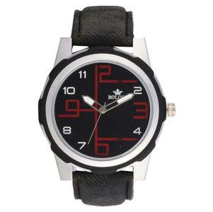Rologi Black Leather Analog Watch for Men