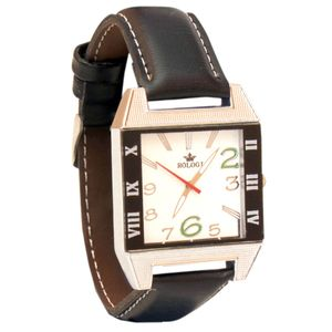 Rologi Black Rectangular Analog Watch