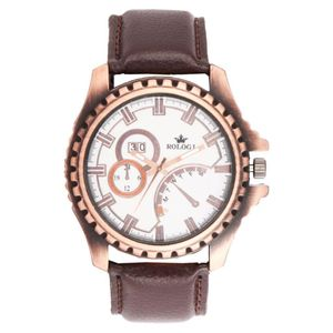 Rologi Brown Analog-Chronograph Watch