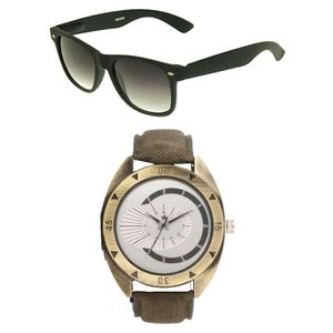 Rologi Brown Analog Watch With Sunglasses For Men