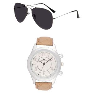 Rologi Tan Analog Watch with Sunglasses - Pack of 2