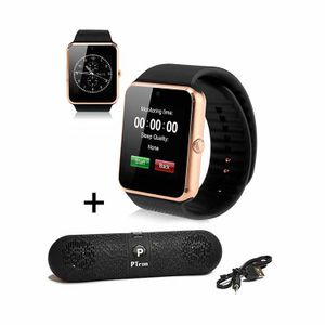 PTron TroniteX Bluetooth Smartwatch Gold With PTron Pill Wireless Bluetooth Speaker Black