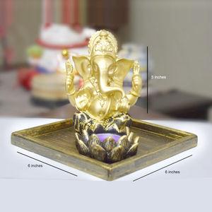 Ganesha with T-Light & Wooden Platter