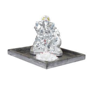 Ganesha with incense holder  & wooden platter (Silver)