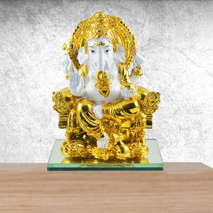 Ganesh Ji Resin Craft (White Gold)