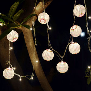 Paper Lamp with Led String Lights (Set of 10)