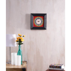 Handpainted Black Red Wall Clock