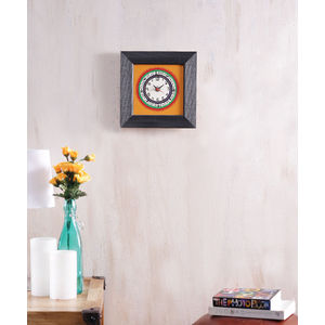 Hand Painted Black Yellow Wall Clock