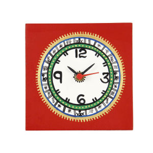 Red Warli Table Clock