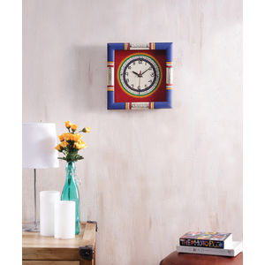 Blue Red Handcrafted Wall Clock