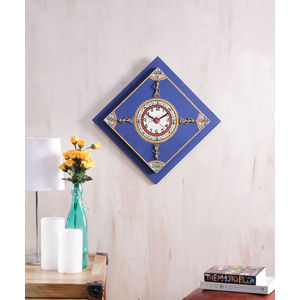 Handcrafted Blue Wooden Clock