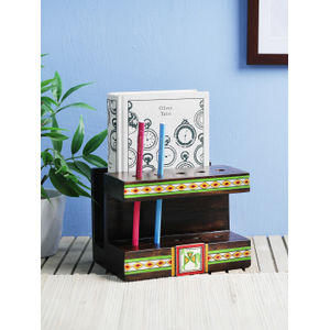 Mango Wood Warli Book Holder cum Pen Stand