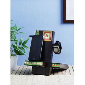 Hand Painted Mobile Stand with Spectacle Holder Desk Organizer