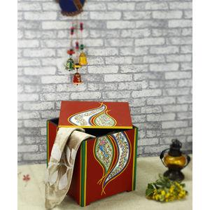 Red Madhubani Wooden Storage Box
