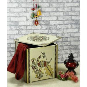 Madhubani White Gold Peacock Wooden Storage Box