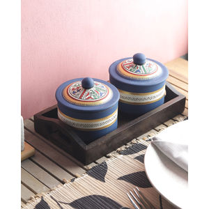 Terracotta Blue Pickle Jars with Tray