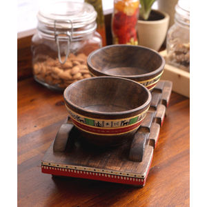 Ethnic Wooden Snacks Bowl with Tray