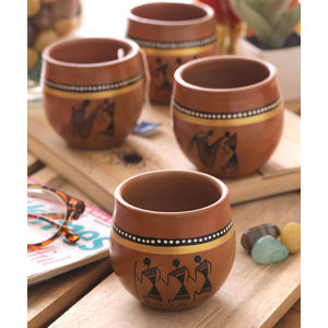 Ethnic Handpainted Kulhad Cups - Set of Four