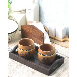 Kulhad Cups pair with tray