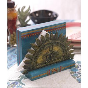 Dhokra Work  Blue Sun Tissue Holder