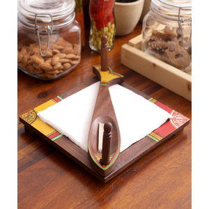 Ethnic Wooden Fish Tissue Holder
