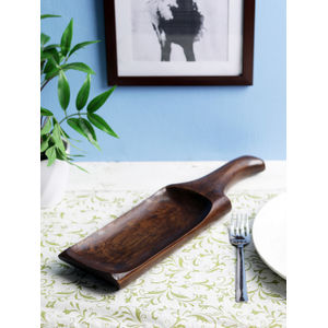 Brown Chilli Teak Wood Snacks Serving Dish - Medium