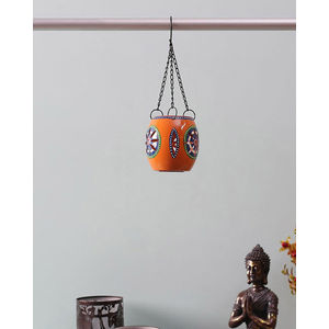 Handpainted Orange Tea Lite Hanging