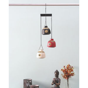 Handcrafted Tea Lite Hanging Trio Set