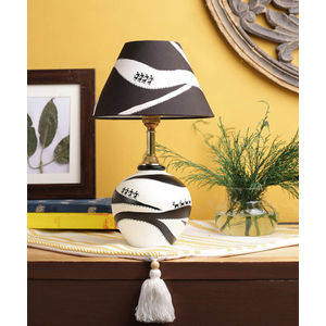 Hand Painted Warli Monochrome Terracotta Lamp with Shade