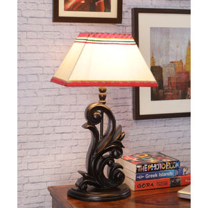 Hand Crafted Teak Wood Carved Lamp with Shade