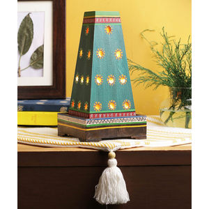 Peacock Green Hand Painted Warli Wooden Lamp