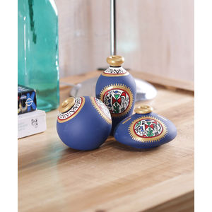 Miniature Blue Terracotta Pots Set