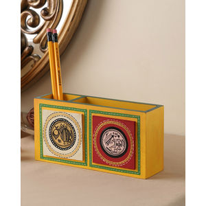 Hand Crafted Yellow Tiled Double Pen Stand
