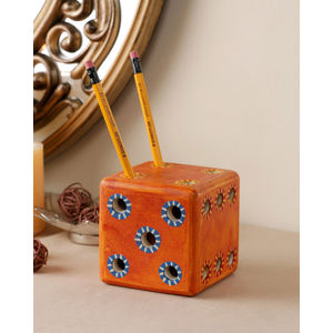 Handmade Wooden Orange Dice Pen Stand