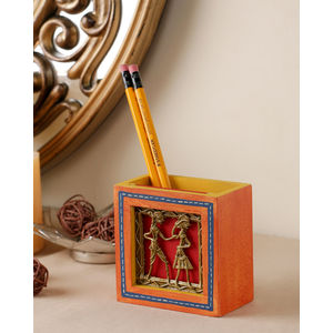 Hand Painted Orange Dhokra Pen Stand